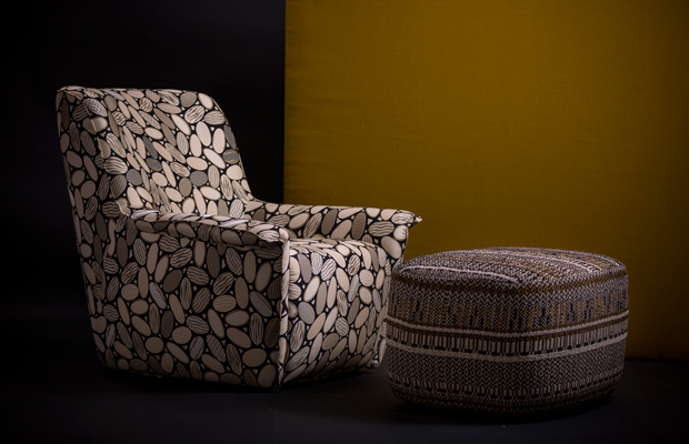 BROCHIER Interior design Fabrics - Home decor textiles - Color scheme: Black, Cream and Mustard