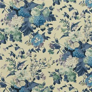 BROCHIER - Interior Design Fabric - Home Textile AK1038 BOUQUET 002 Blu