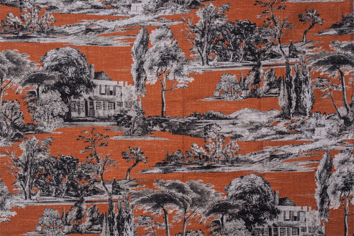 BROCHIER Home decor textile - Interior Design Fabric AK1428 CAMPAGNA 004 Mattone